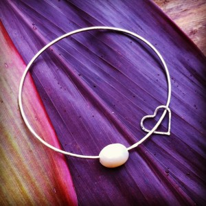 Sterling Silver Bangle Bracelet with a Pearl and a silver heart