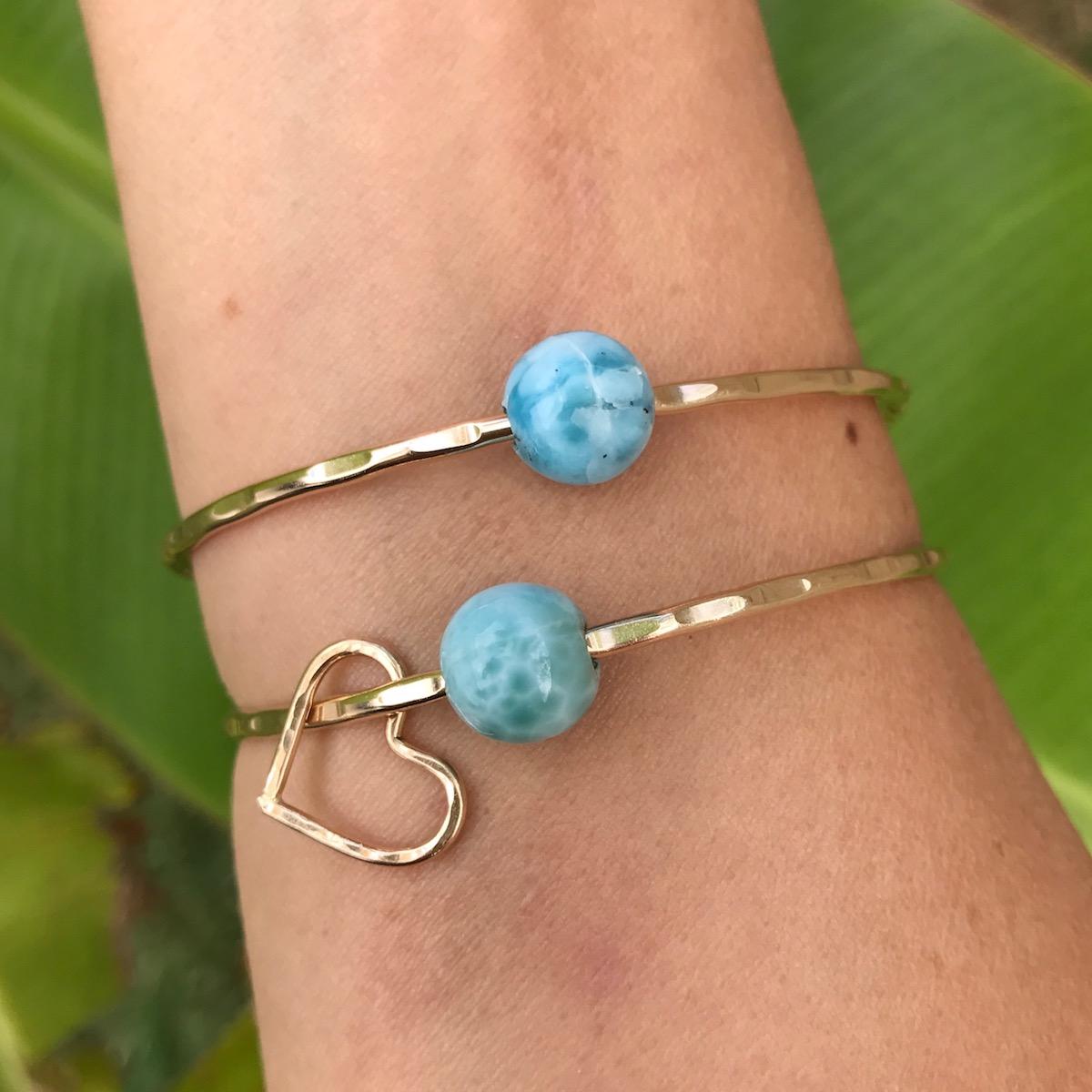 Caribbean Blue Larimar Bangle Bracelet Aloha Bangles